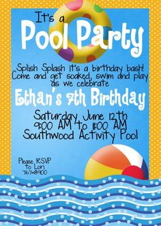 Modern Swim Surf Pool Party Invite Beach Birthday Custom Photo Card Invitations Wording 2nd