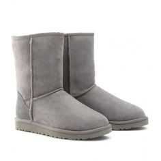 UGG Australia Classic Short Boots ($323) ❤ liked on Polyvore featuring shoes, boots, ankle booties, uggs, botas, chaussures, grey, suede ankle boots, grey suede booties and grey boots
