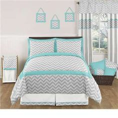 Zig Zag Turquoise and Gray Bedding Set by Sweet Jojo Designs  like the bedding i kinda want a blue and light yellow room