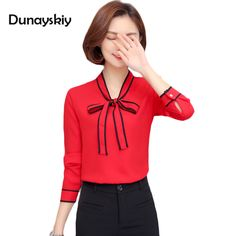 Spring Women chiffon Tops and Blouses New Fashion loose Women Shirt long Sleeve Blouse office Ladies Bow Stand-Collar plus size