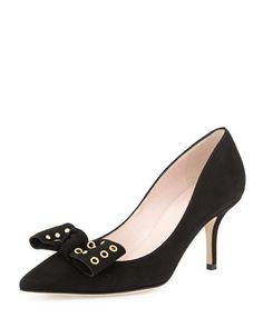 justine grommet-bow suede pump, black by kate spade new york at Neiman Marcus.