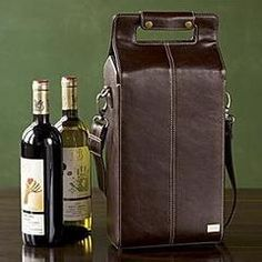 2 Bottle leather Wine Carrier