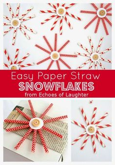 Easy Paper Straw Snowflakes-these are so easy to make and would fabulous on a tree, hung in a window or as a package decoration!