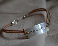 Simple Sterling Medical Alert Bracelet Custom Personalized Hand Stamped Leather