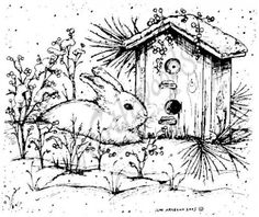 Northwoods Rubber Stamps - Wood Mounted - Winter Bunny and Birdhouse