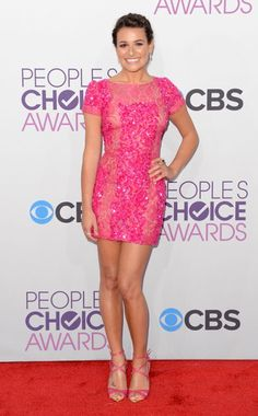 People's Choice Awards: Lea Michele is pretty in pink wearing a Elie Saab mini. She looks amazing in this sparkle and sheer dress. The color pink is perfection!