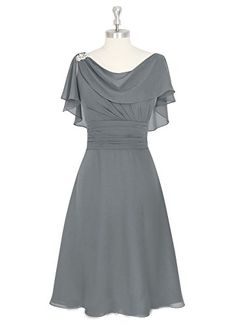 SDRESS Womens Short Chiffon Cowl Neck Mother Bridesmaid Dress Wedding Party Dress Grey Size 10 ** Check out the image by visiting the link.