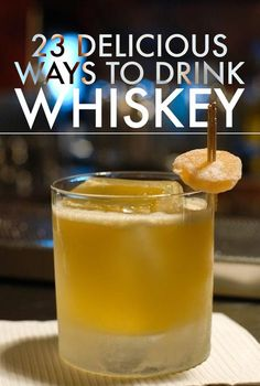 23 Delicious Ways To Drink Whiskey Tonight. As if there was a way whiskey wasn't delicious, lol Whisky Cocktail, Cocktail Drinks, Alcoholic Drinks, Beverages, Cachaca Drinks, Party Dips, Bar Pub, Cheers, Drink Recipes