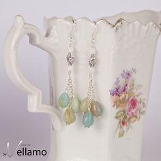 Long dangle earrings with light blue amazonite teardrop stones, sterling silver, statement earrings, pastel blue stone drop earrings - pinned by pin4etsy.com