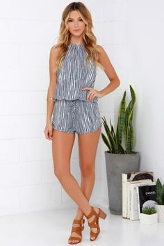 86cf2742129 Fortuitous Navy Blue Striped Halter Romper 9 Dressy Rompers And Jumpsuits