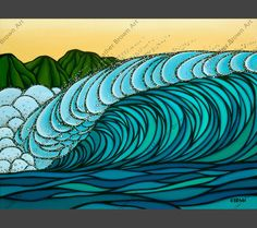 a3c045a8ed New ReleaseHawaii Wave Art Heather Brown Art Surfboard Painting