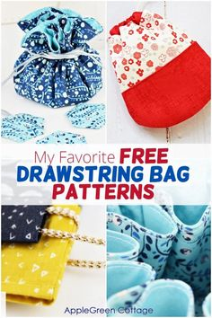 Make the cutest diy drawstring bags from my favorite free patterns for drawstring bags you can sew. They are easier to sew than you'd think! These drawstring cinch bags might just become your favorites too - from small diy drawstring pouches all the way to diy gym bag, or a proper diy backpack. Get all these free cinch bag patterns now! Easy Quilt Patterns, Bag Patterns, Sewing Patterns Free, Free Sewing, Drawstring Bag Pattern, Drawstring Pouch, Easy Sewing Projects, Sewing Projects For Beginners, Felting Tutorials