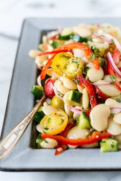 Lima beans have long had a bad rap but not so in this fresh Lima Bean Salad Full of flavor this is not the lima bean from a can that many of us cringe and remember from c. Lima Bean Recipes, Bean Salad Recipes, Healthy Salad Recipes, Vegetarian Recipes, Cooking Recipes, Bean Salads, Beans Recipes, Easy Cooking, Healthy Cold Lunches