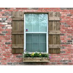 Cedar shutters wood shutters stained shutters 38 Likes, 5 Comments - A Little Cu. Cedar shutters w Shutters Brick House, Farmhouse Shutters, Cedar Shutters, Rustic Shutters, Wood Shutters, Exterior Shutters, Window Shutters, Window Boxes, Style At Home