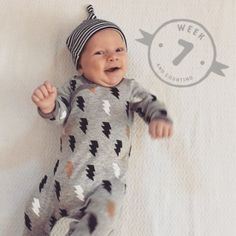~There are so many beautiful reasons to be happy- * I hope this little ⚡️lightning bolt's smile is one of those reasons for you today 😍😀 #nixonthomaswatts #nixfix #7weeksyoung #babybrother #hesthecutest #skiphop #thatswattsup
