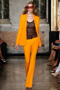 This tangerine pantsuit + macrame camisole. Emilio Pucci Spring 2015 Ready-to-Wear. #EmilioPucci #spring2015 #mfw