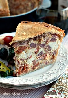 Easter Pie - A classic Italian recipe! Pastry crust filled with meat and cheese. Delicious!
