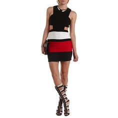 Cut-Out Color Block Bodycon Dress