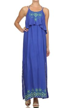 A strappy, full length, long maxi dress with an overlapping top layer and constrast embroiderery detail.