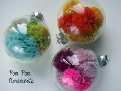 Handmade yarn pom pom ornaments ball ornament