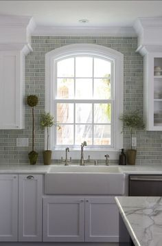 Kitchen Sinks Ideas Some beautiful kitchens featuring subway tiles. - Subway tiles are one of my favourite hard finishes. See how I used them in various formats for different rooms in our new build. Kitchen Sink Window, Diy Kitchen, Kitchen Interior, Kitchen Decor, Kitchen White, Summer Kitchen, Kitchen Cabinets, Design Kitchen, Kitchen Modern