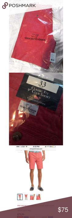 Vineyard vines Men's 9' inch shorts I Ordered these in the wrong size and forgot to ship them back so it's too late now but these are Vineyard Vines men's shorts in Jetty Red, the pictures online look a little more pink then how they come, they're more reddish, really pretty color. Size 33. Never worn, still in packaging. #shorts #mens #mensshorts #vineyardvines #preppy.       ****i also have 3 pairs in 32 in red that I will be posting in another listing***** OBO also on Mercari Vineyard…