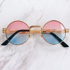 160b8b0441 Vintage sunnies Brand new gold frames pink and blue ombre   - Depop Gold  Frames