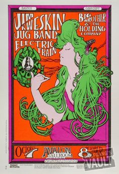Jim Kweskin Jug Band and Big Brother & the Holding Company Original Concert Poster, Avalon Ballroom (San Francisco, CA) Oct 7, 1966. Art by Stanley Mouse and Alton Kelley. http://www.wolfgangsvault.com/jim-kweskin-jug-band/poster-art/poster/FD029.html