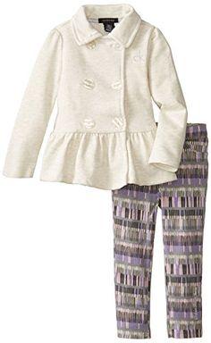 Calvin Klein Little Girls' Button Front Peplum Jacket Set