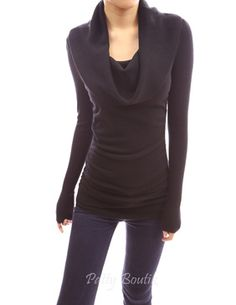 Cowl Neck Ruched Sides Sweater
