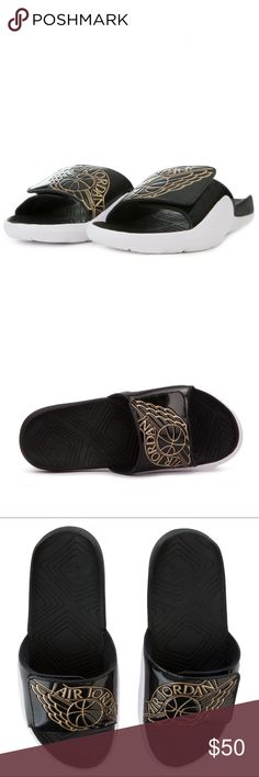 93d14b8d56f682 New Jordan Hydro 7 Slides Black Gold Size 8 Men Amazing Color and Style  Item