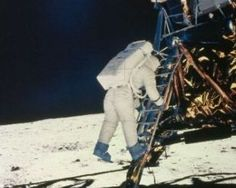 """On July 20, 1969, Commander Neil Armstrong became the first man on the moon. He said the historic words, """"That's one small step for a man, one giant leap for mankind."""" A camera in the Lunar Module provided live television coverage as Neil Armstrong climbed down the ladder to the surface of the moon. Live Television, One Small Step, Neil Armstrong, Man On The Moon, Darth Vader, Humor, Shit Happens, Happenings, History"""