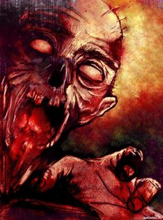 Everyone loves a good zombie movie, book or image and illustrators are no exception. This set of inspirational zombie pictures is mostly vector with some raster images thrown into the mix. Zombie Face, Dead Zombie, Walking Dead Show, Evil Dead, Sugar Skull Art, Skull And Bones, Horror Art, Monster, Zombie Apocalypse