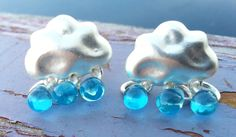 Silver Clouds with Tiny Opulent Rain Drops Earrings. Starting at $1 on Tophatter.com!