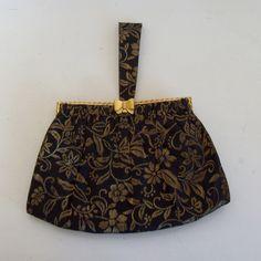 Vintage evening bag wrislet black and gold brocade with bow closure TorII Tokyo