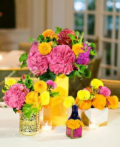 Pink Hydrangea and Orange and Yellow Dahlia Wedding Centerpiece Collection
