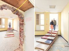 joseph grima biennale interieur.  // as the school is set for complete demolition at the end of the biennale, grima and his team physically employed the building as a construction material itself to carve out a journey for visitors that offers and overview and timeline of domestic space. as a result of broelschool's impending fate, 'SQM: the quantified home' is also a commentary on the regeneration and development of the city itself and the boom of the real estate market.