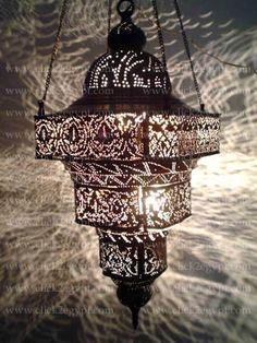 BR124 Antique Moroccan Style Pierced Hand-Engraved Large Hanging Lamp / Light in Collectibles, Lamps, Lighting, Ceiling Fixtures | eBay