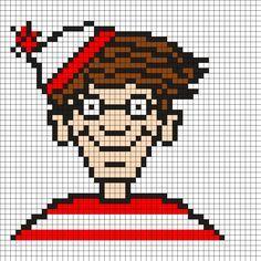 Charlie - Wheres Waldo Perler Perler Bead Pattern / Bead Sprite Pony Bead Patterns, Kandi Patterns, Perler Patterns, Beading Patterns, Scott Pilgrim, Minecraft Pixel Art, Minecraft Ideas, Lego Mosaic, Pixel Drawing