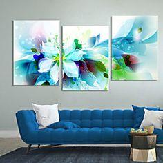 conjunto de lona de 3 flores azules abstractas modernas lienzo de la lámina listo para colgar | LightInTheBox
