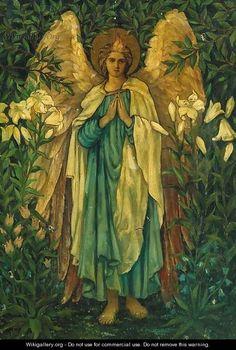 The Angelic Realm: Archangel Gabriel, Circle of Sir Edward Burne-Jones. Angels Among Us, Angels And Demons, Catholic Art, Religious Art, Saint Gabriel, Edward Burne Jones, Dante Gabriel Rossetti, I Believe In Angels, Pre Raphaelite