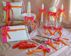 Hot Pink and Orange Wedding basket pillow guest book by All4Brides, $205.00