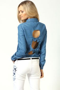 Ashley Denim Shirt With Bow Back #denimdaze #boohoo #denmimdaze