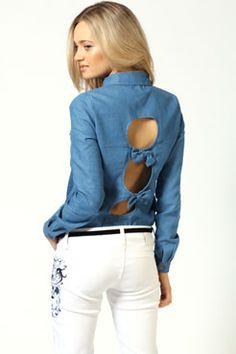 Ashley Denim Shirt With Bow Back #denimdaze #boohoo #denmimdaze