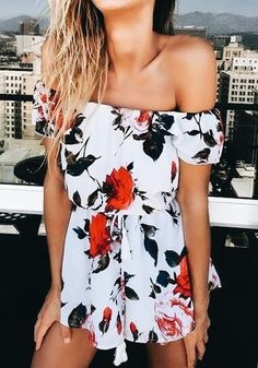 Floral off the shoulder romper.