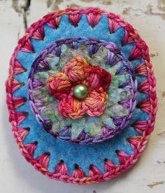 Colorful felt/crochet brooch oval with flower by LaRosaRosa
