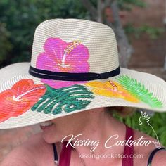 Hand painted tropical flowers straw hat. Sun hat boho chic   Etsy outfit hat hat outfit cute caps cute hats cute hat outfits hat fall hat cute summer hats hat fashion hair hats hat ideas hat summer cute hats baseball decorating hats cute hats for summer hat style hats and scarfs summer hats fashion hats Hibiscus Flowers, Tropical Flowers, Original Gifts, Wide-brim Hat, Cockatoo, Sun Hats, Kissing, Boho Chic, Hair Accessories