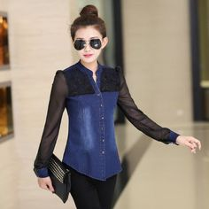 Women Fashion Elegant Denim Chiffon Blouse