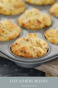 A super easy savoury muffins recipe made with ham, corn, cheese and chives. perfect for lunch boxes, as a side to a bowl of soup or on their own! Printable Thermomix and conventional recipe cards included. Healthy Savoury Muffins, Savory Scones, Savoury Baking, Savory Snacks, Recipe For Savory Muffins, Corn Muffins, Cheese Muffins, Savoury Recipes, Quick Snacks