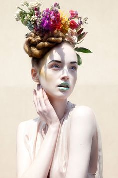 """Liv O'Driscoll in """"Lost in Reverie"""" by Kate Edwards. Pelo Editorial, Editorial Fashion, Beauty Photography, Fashion Photography, Color Photography, Portrait Photography, Kate Edwards, Photographie Portrait Inspiration, Floral Headdress"""